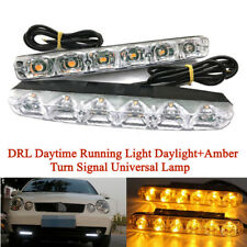 1Pair 6LED DRL Daytime Running Light Daylight+Amber Turn Signal Universal Lamp