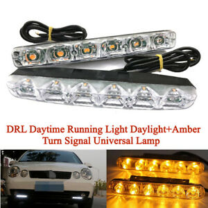 1Pair 6LED DRL Daytime Running Light Daylight+Amber Turn Signal Universal Lamp