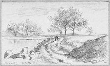 LÉON BERVILLE DESSIN ORIGINAL 1911 Chemin dans les Marais d'après Cicéri