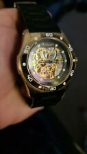 RARE Armitron Mens Automatic Skeleton Watch 20/4405GP Black and gold Two tone.