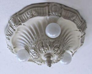 CLASSIC! Antique White Shabby Chic Plaster Light Fixture Professionally Restored