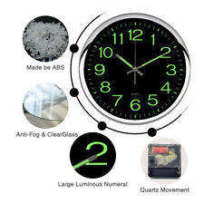 "Non Ticking Wall Clock 12"" Round Silent Quartz Luminous Night Light Home Decor"