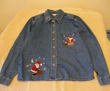 Christopher & Banks Size M Denim Shirt w/Santa Embroidery, long sleeves
