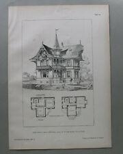 AR91) Architektur Sarnen 1891 Chalet Robert Turm Balkon Erker Holzstich 28x39