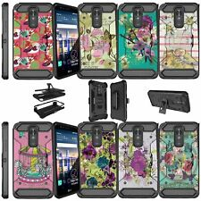 For LG Stylo 3 Plus   LS777 Shockproof Dual Layer + Stand Holster Case - Flowers