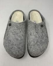 Birkenstock Zermatt Rivet Slippers, Grey Wool, Shearling Women's 8 Narrow EU 39