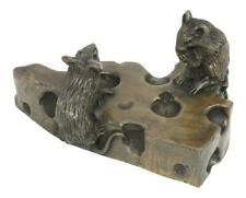 Oriele Cold Cast Bronze Two Mice On Block Of Cheese Figure Figurine Decoration