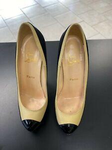 Auth. Christian Louboutin Women's Black Beige Size 37 1/2 Shoes Heels