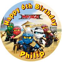 "Lego Ninjago Premium PERSONALISED 7.5"" ROUND EDIBLE ICING PRINTED CAKE TOPPER"