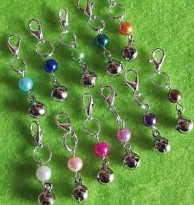 Cat Collar Clip On Charms Small Coloured Pearl With Jingly Bell Gift Bagged
