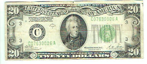 Antique banknote $20 USA Series of 1928 B with portrait of Jackson.