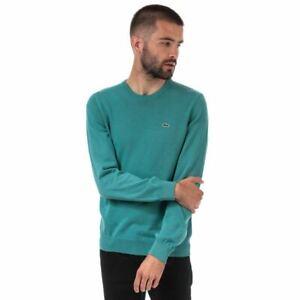 Men's Lacoste Crew Neck Cotton Jersey Sweatshirt in Blue