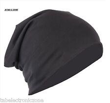 Black Unisex Woolen Skull Cap Slouchy Beanie for Men & Women