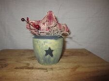 Primitive Americana gathering - stars - crackle finish wooden container - 19