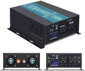 Power Inverter 1500W 12/24/36/48V to 120/220V Pure Sine Wave Inverter Run Fridge