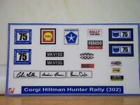 Corgi  Hillman Hunter Rally (302) sticker decals