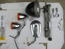 HARLEY SPORTSTER PARTS LOT/FRONT&REAR AXEL W/ADJUSTERS/CHROME BLINKERS/HEADLIGHT
