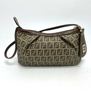 FENDI 8BR566 Zucchino Zucca Pouch Accessory pouch Leather/PVC Beige