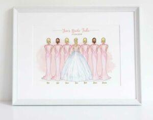 Bride Tribe Bridesmaid Personalised Wedding Bridal Party Print Keepsake UNFRAMED