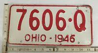 Vintage Ohio 1946  License Plate  # 7606-Q