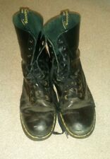 Vintage 10 hole Dr marten boots black made in england size 10