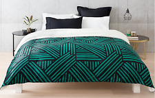 Super Soft Emerald Green & Black Printed Plush Blanket - Double / Queen Bed