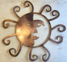 Sun and Moon Face Wall Metal Art Hanging with Rustic Copper Finish