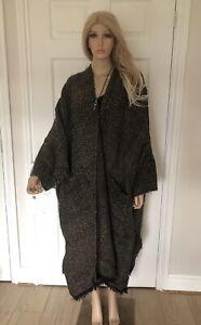 PERUVIAN CONNECTION Pure New Merino Wool Fringed Cape Jacket Poncho Ruana M ♡