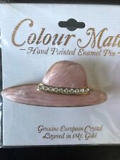 Pin Brooch Layered 18K Gold Hand Painted Enamel w/Crystal Pink Hat