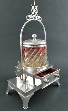 BACCARAT Swirl Rose POWDER JAR - ANTIQUE silver VANITY Set trinket JEWELRY BOX