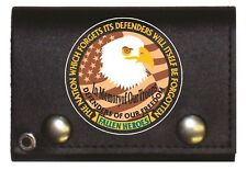 Fallen Heroes Black Genuine Leather Wallet With Chain (4 Inch)