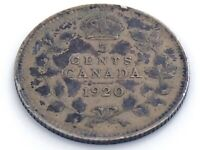 1920 Canada Five 5 Cent Small Silver Circulated Canadian George V Coin J579