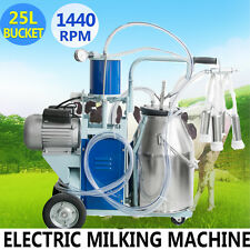 25L Electric Milking Machine For Cattle Cows W/Bucket 12Cows/hour Milker