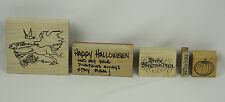 Mixed Wood Mounted Rubber Stamp Lot of 5 Winter Holiday Halloween Christmas NEW