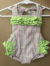 Girls Boutique 12 months Pink Green Seersucker Bubble Ruffle Outfit New Nwt