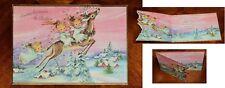Vintage UNUSED Christmas Card DIE CUT EMBOSSED ANGELS RIDING DEER PINK HOUSES
