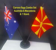 Australia & Macedonia flags with plastic sticks & stand