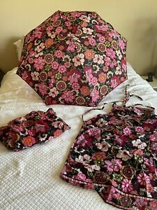 Women's Vera Bradley 3  Mod Floral Pink Corduroy Pj Pants sz Xl, umbrella Apron