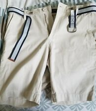 NWT Men's U.S. Polo Assn Flat Front Belted Chino Shorts 32 Sand Off White