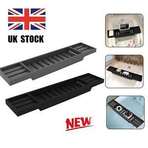Grey /Black Bathroom Storage Bamboo Wood Bath Tub Rack Tidy Tray Caddy Organiser