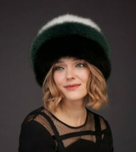 Handmade Multicolor Genuine Fox Fur Hat With Leather Inserts And Fur Pom-Pom