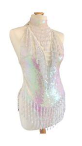 Showgirl Sequin Leotard Costume In Iridescent White