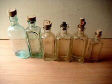 Antique / Vintage aquamarine & Clear glass tonic / liniment bottles cork stopper