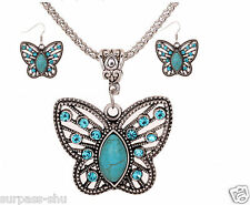 New A Set Necklace Earrings  Women all-match Butterfly Green Auger Turquoise