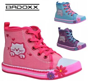Girls canvas shoes high HI TOP ankle trainers KIDS NEW sneakers Kitty