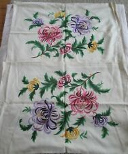 Vintage Hand Embroidered Floral Pillow Covers