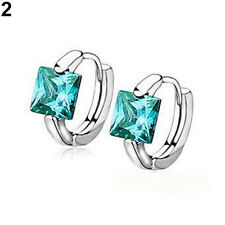 EG_ Women's Huggie Earrings Square Cubic Zirconia Stone Silver Plated Amazing Gi