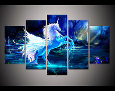 Modern Abstract Oil Painting Wall Decor Art Huge -  unicorn horse forest blue