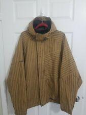 D30 Burton Dryride White Collection Snowboard Jacket Coat Large Hooded Striped