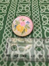 Vintage Fine Ceramic China Painted Floral Circular Pin Brooch FREE SHIPPING